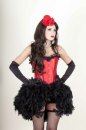 Red Satin Corset with Feather Bustle (Lydia Red)